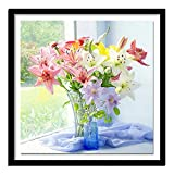 DIY Oil Painting Paint by Number Kit Beautiful Lilies Oil Painting Kit Acrylic for Adults Kids,Arts Craft for Home Wall Decor 40x50cm
