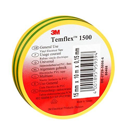 3M TGG1525 Temflex 1500 Vinyl Elektro-Isolierband, 15 mm x 25 m, 0,15 mm, Gelb/Grün