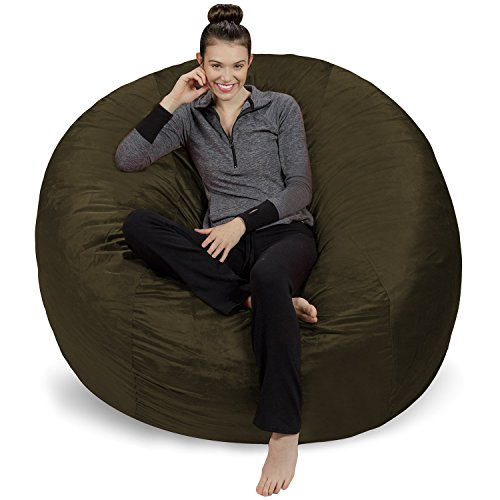 Sofa Sack - Plush Ultra Soft Bean Bags Chairs for Kids, Teens, Adults - Memory Foam Beanless Bag Chair with Microsuede Cover - Foam Filled Furniture for Dorm Room - Olive 6'