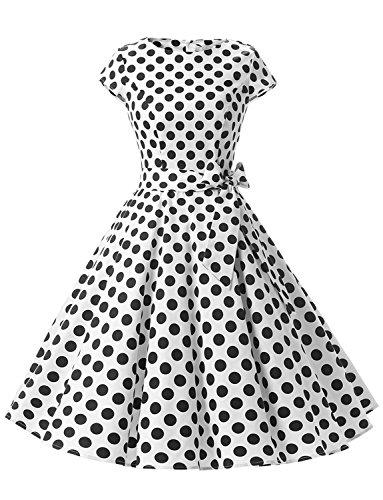 Dressystar Damen Vintage 50er Cap Sleeves Dot Einfarbig Rockabilly Swing Kleider Weiß Schwarz Dot B XS