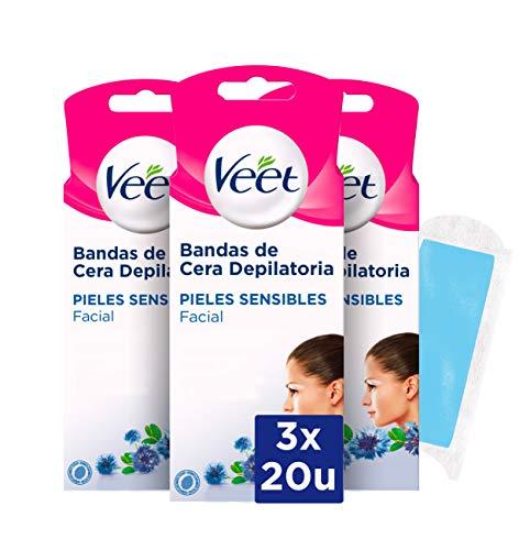 Veet Bandas de Cera Fria Depilatoria para Depilación Facial con Aceite de Almendras y Aroma de Aciano, Easy Gelwax, Pieles Sensibles, 3 x 20 Bandas, Total 60 Unidades