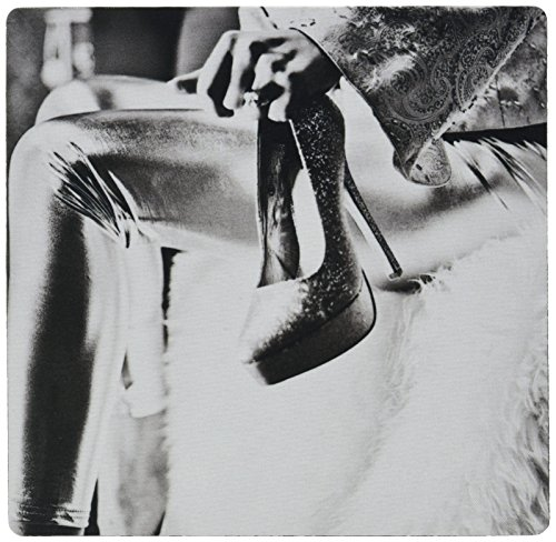 3dRose LLC 8 x 8 x 0.25 Inches Mouse Pad, A Hand Holding A Pair of Sexy High Heels in White and Black On Fur (mp_64730_1)
