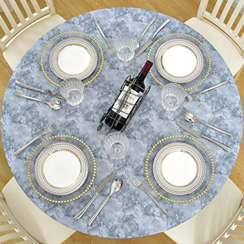"""Lifesmells Indoor Outdoor Patio Round Fitted Vinyl Tablecloth,Great for Xmas/Parties/Home,Oil&Waterproof Wipeable,Flannel Backed&Elastic Edge,Classic Marble Grey for Table of 45-56"""" Diameter"""