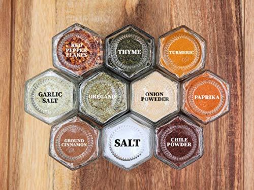 10 Large Magnetic Spice Jars Kit 3.7Oz w/ Labels Black Lids Custom Spice Rack Gift