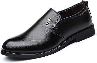 メンズシューズ 男性のためのビジネスオックスフォードシューズフォーマルシューズスリップオンPUレザーシンプルラウンドトゥアウトソール 通気性 (Color : ブラック, サイズ : 27 CM)