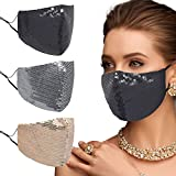Rhinestone Crystal Face Mask, Masquerade Fashion Bling Mask for Women,Reusable Face Mask,Washable Face Mask,Diamond Sparkling Black Mask