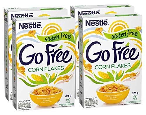 Nestlé GO FREE Cornflakes, glutenfreie Mais-Flakes, Cerealien zum Frühstück, mit Milch & Joghurt genießen, 4er Pack (4 x 375 g)