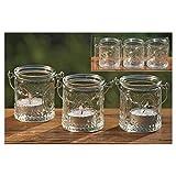 Windlichter, Teelichthalter Country 3er-Set aus Glas zum Aufhängen, Ø ca. 6 cm - 5