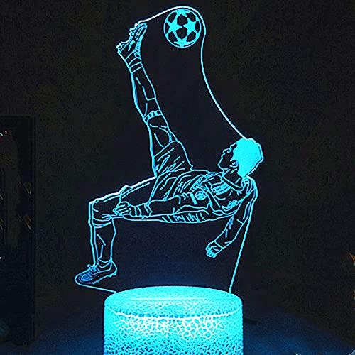 Jinson well Lámpara 3D de futbolista de fútbol, ilusión óptica, luz nocturna, 7 cambios de color, interruptor táctil, mesa de escritorio, lámpara decorativa con base acrílica plana, USB, juguete
