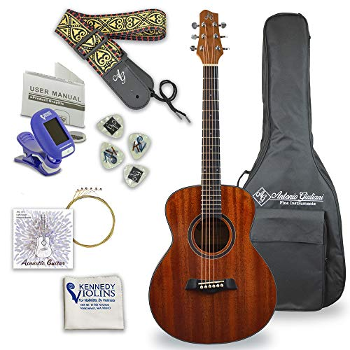 Antonio Giuliani Acoustic Mahogany Guitar Bundle - Mini Jumbo Short Scale (DN-2P) - Dreadnought Travel Guitar with Case, Strap, Tuner, Strings and Accessories By Kennedy Violins