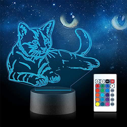Luz nocturna de gato para niños 3D USB alimentado 16 colores intermitente interruptor táctil Decoración Iluminación para niños Regalo de Navidad