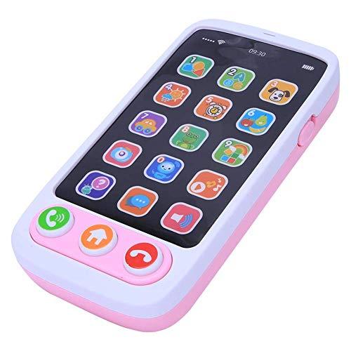 Juguete electrónico para teléfono inteligente, teléfono simulado con música ligera Juego de contar la máquina de contar historias para niños Bebé(Pink)