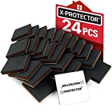 "X-PROTECTOR Furniture Grippers – Premium 24 pcs 2"" Furniture Pads – Floor Protectors for Furniture Legs. Best Non Slip Pad Rubber Feet – Stop Your Furniture with Anti Slip Floor Pads!"