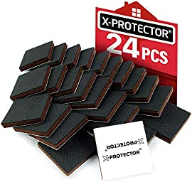 "X-PROTECTOR Furniture Grippers – Premium 24 pcs 2"" Furniture Pads – Floor Protectors for Furniture Legs. Best Non Slip… 2 ✌ CHAIR MOVING TOO EASY AND SCRATCHING YOUR FLOOR? Premium rubber furniture pads X-PROTECTOR® will keep in place all furniture and protect floors in Your lovely home from the scratches! ✌ X-PROTECTOR® 24 pcs 2"" PREMIUM FURNITURE GRIPS SUITABLE FOR ANY FURNITURE! Our anti slip furniture pads for hardwood floors are perfect for any type of furniture and WILL STOP ALL – dining chairs, sofa, table, bed, couch, stools, etc. ✌ X-PROTECTOR® TENACIOUS ADHESIVE – FORGET ABOUT COME OFF FURNITURE GRIPPERS! Our hardwood floor protectors have tenacious adhesive which will hold non slip floor pads on the furniture for a long time. And it's so easy to stick our floor protectors to the furniture feet!"