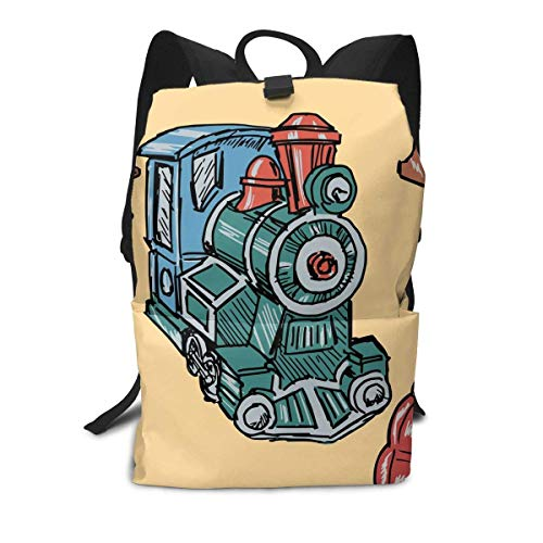 Homebe Locomotive Train Painting Mochila Unisex, Mochilas y Bolsas School Travel Hiking Small Gym Teen Little Girls Youth Boy Women Men Kids Backpack Mini Book Back Bag Bookbag