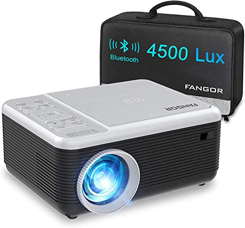 Mini Proyector, FANGOR Mini Video Proyector portátil con Reproductor de DVD,4500Lux proyector de Cine en casa Bluetooth 720P Nativa,Compatible con HDMI/USB/Micro SD/VGA/Fire TV Stick/PS4/ Xbox