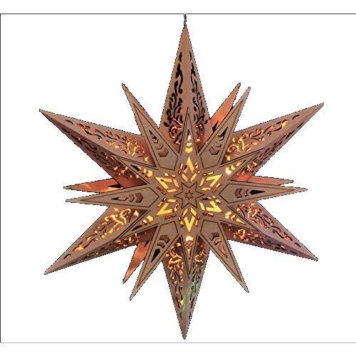 Weihnachtsstern Holzstern beleuchtet Handarbeitmit LED Beleuchtung 6 LED