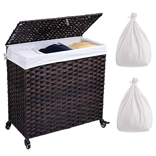Crehomfy Laundry Hamper with Wheel and 2 Liner Bag Synthetic Rattan Wicker Handwoven Laundry Basket with Lid and Handle Foldable Clothes Hamper Laundry Sorter for Laundry Bathroom Brown 3 Section