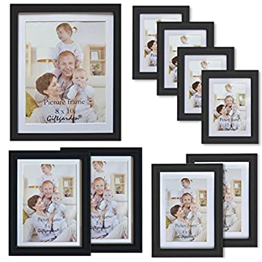Giftgarden 9-Piece Multi Pack Black Picture Frames Wall Gallery Kit with White Mat, One 8x10, Two 5x7, Two 4x6, Four 3.5x5