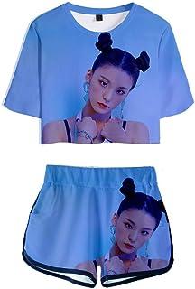 FEIRAN Manga Corta ITZY Camisetas y Pantalones Cortos para niñas con Estampado en 3D Conjunto Casual con E XXS