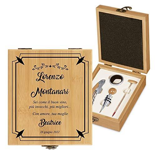 MURRANO Set Cavatappi da Vino - Kit da Sommelier Degustazione Perfetta Personalizzato - Scatola in legno di bambù + 4 pezzi di Accessori Vino - regalo uomo - Buon vino