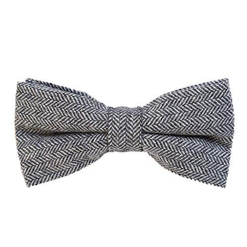 DonDon Herren Fliege 12 x 6 cm Fischgrät-Muster gebunden und stufenlos justierbar aus Baumwolle im Tweed Style grau