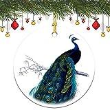 Weihnachtsschmuck, Vintage, blau, elegant, bunt, Pfau, Weihnachtsbaum, rund, Keramik, Andenken, Dekoration