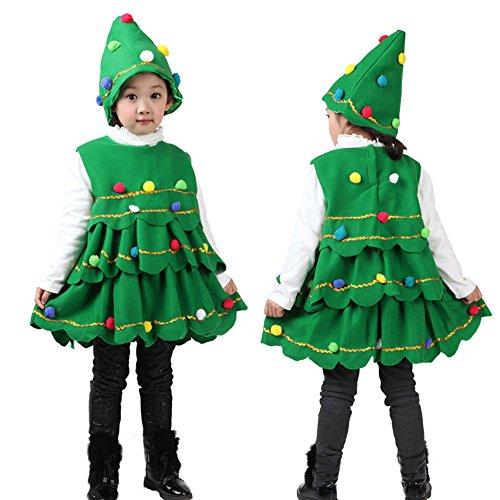 Vestito Natale Bambina Vestiti Natalizi per Bambini Abito Natalizio Ragazze Abiti Natalizi Bimba Albero di Natale Ragazza Infantile del Bambino + Cappello Abito Bambina Principessa