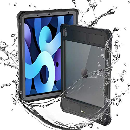 Waterproof Case for iPad Air 4 10.9 2020 4th Gen,Shockproof Drop Proof Protective Case Premium Quality Cover High Touch Sensitivity with Kickstand Hand Rope (Black)