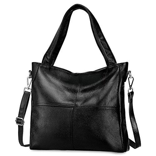 S-ZONE Damen Handtasche Henkeltasche Echtes Weiches Leder Leicht Casual Tote Bag Shopper Einkaufstasche Umhängetasche Schultertasche Geldbeutel