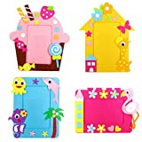 4 PCS Picture Frame DIY Craft Kit Non-Woven Fun Foam Frames with Cotton Stickers for Children Handmade Art Project