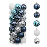 Valery Madelyn Christmas Ball Ornaments Blue Silver, 35ct 70mm Shatterproof Blue Christmas Tree Ornaments Bulk for Christmas Decoration Xmas Home Decor