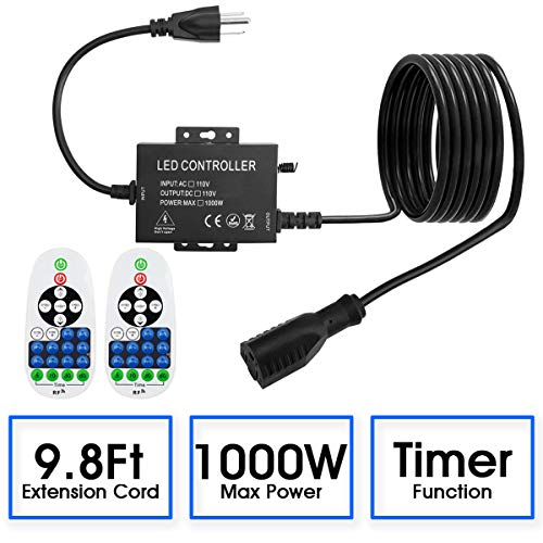 Adust Outdoor Plug-in Dimmer Switch for String Lights, AC 110V Max 1000W Bulbs Dimmer Switch with 9.8 Ft Extension Cord, 65 Ft Wireless Remote Control, 3 Prong Outlet, Waterproof IP65, Timer F (9.8ft)