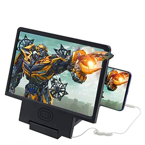 scosao Lupa para Móvil con Altavoz, Pantalla de Amplificador de Teléfono Móvil 8.5 Pulgadas 3D, Soporte de Teléfono Plegable para Todos Los Teléfonos Inteligentes, para Películas, Vídeos y Juegos,