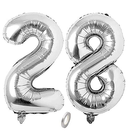 Jrzyhi Globos con números para 28 cumpleaños, plateados, con número 28, helio, número 28, número XXL, número 28, globos gigantes para cumpleaños, bodas, fiestas, decoración, 32 pulgadas