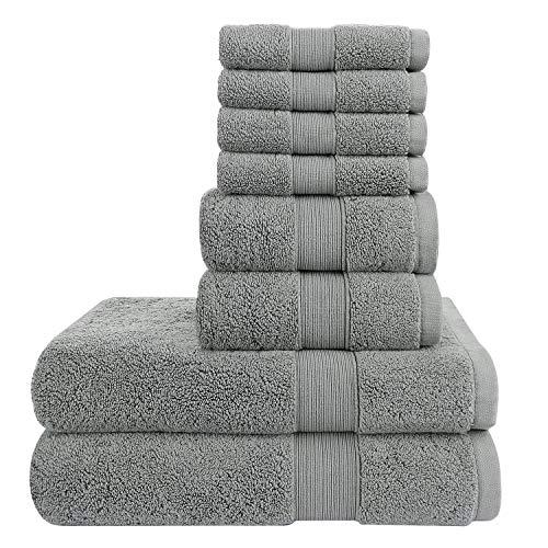 Wonwo 100% Cotton Towels Set, 8 Piece Set - 2 Bath Towels - 2 Hand Towel - 4 Washcloths, 700 GSM Highly Absorbent Luxury Hotel & Spa Quality Bathroom Towels - Grey