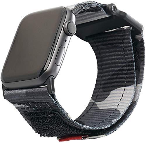 Urban Armor Gear Active Bracciale per Apple Watch 42mm / 44mm (Watch SE, Serie 6, Serie 5, Serie 4, Serie 3, Serie 2, Serie 1, Cinturino in Nylon di Ricambio) Nero (Camo)