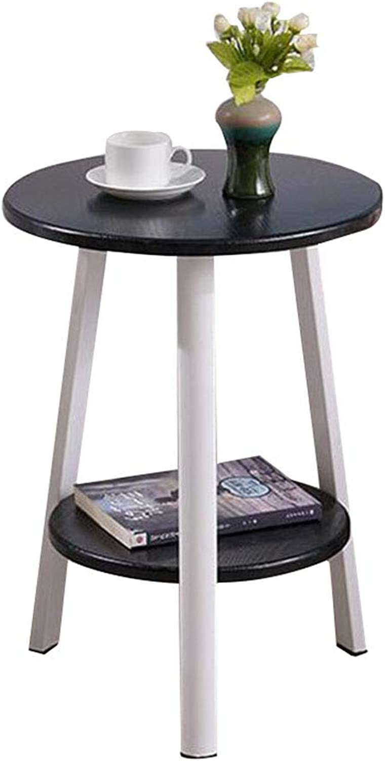 Side Table Small Round Table Mini Coffee Modern Nordic Minimalist Sofa Corner Balcony Bedside Furniture Wood(43  60cm) (color   Black)