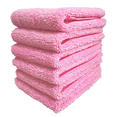 Polyte Premium Lint Gratis Microvezel Wasdoek Gezicht Handdoek, 13 x 13 in, Set van 6 (Roze)