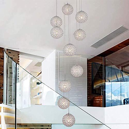 L.w.s Candelabro Escaleras dúplex Candelabro de cristal Sala de estar minimalista moderna para elegir Candelabro LED largo de gran altura Penthouse Candelabros de villa 40x200cm (Color:Gold, Size:Whit
