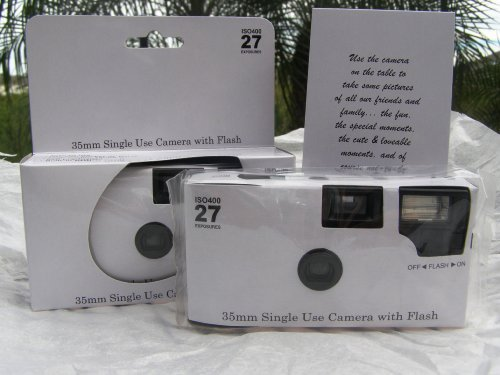 5 Pack of Plain Glossy White Disposable 35mm Cameras for Wedding or Any Party, 27 Exposures Each- with Matching Table Cards