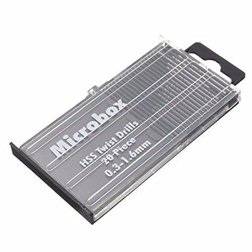 KUNSE 20 stks 0.3-1.6mm HSS Micro Twist Boor Set Rechte Schacht Twist Boor Bits