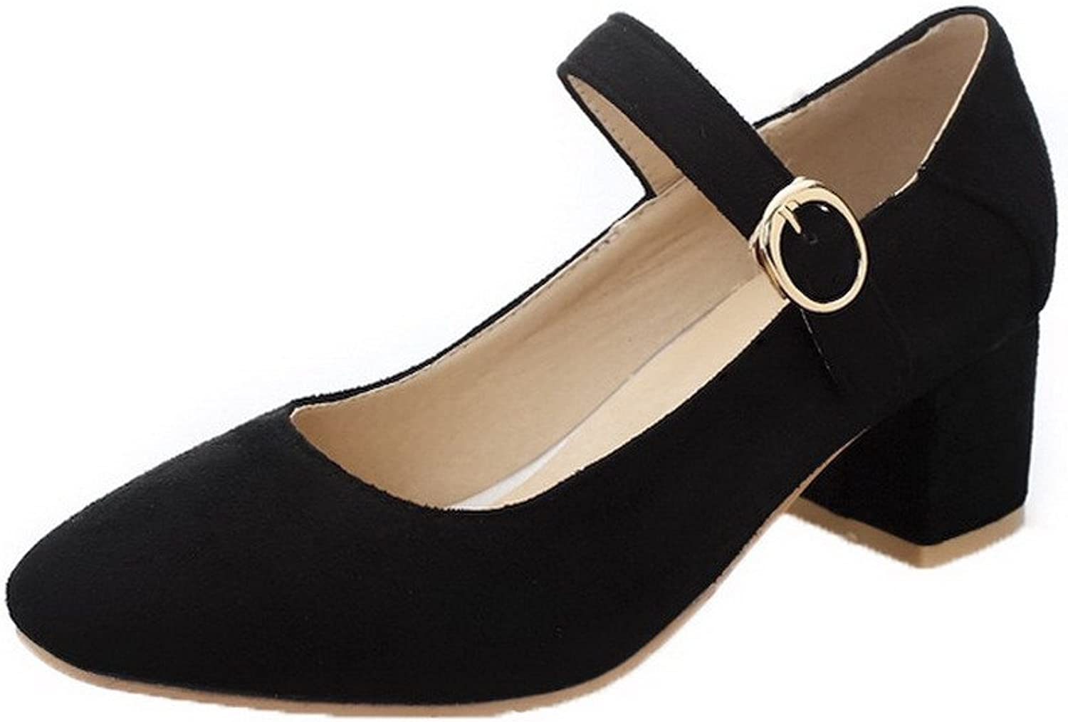WeenFashion Women's Square Closed Toe Pumps-shoes