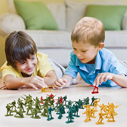 [Value Bundle] 12 Packs of Action Figures Army Men Soldiers in Mini Buckets Bulk Party Favors Supplies
