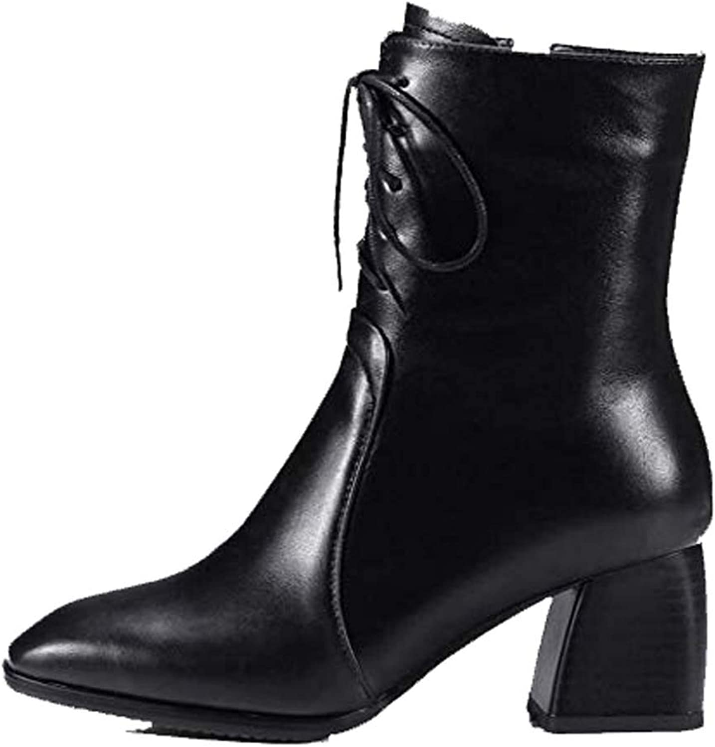 Women's Martin Boots Square Head Thick with Side Zipper Low Boots Leather Women's Boots High Heel