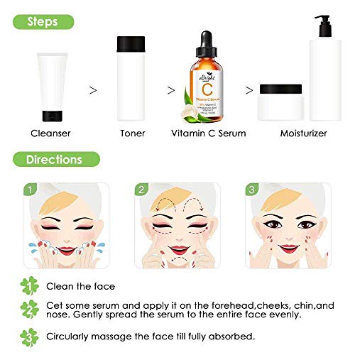 51uBVY+VuwL - Super Vitamin C Serum for Face, Anti Aging & Anti Wrinkle Whitening Facial Serum with Niacinamide, Vitamin E, Hyaluronic Acid, and Salicylic Acid, 1 oz (Orange)