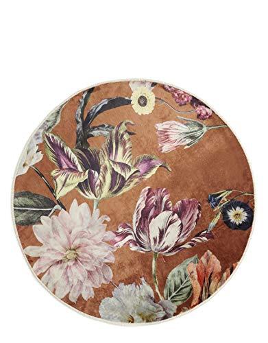 ESSENZA Teppich Filou Finest Blumen Pfingstrosen Tulpen Polyester Mischung Braun, Rund ø90 cm