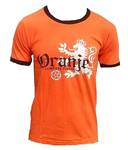 TICILA Herren T-Shirt Oranje Holland Dutch Niederlande Netherlands Champion Football Fussball WM EM Designer Fan Tee Trikot Orange XL 56