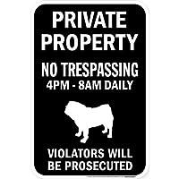 PRIVATE PROPERTY ブラックマグネットサイン:パグ シルエット 英語 私有地 無断立入禁止