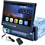 Camecho 1 Din Car Stereo Navigation 7.1 Inch Capacitive Retractable & Flip Out Touch Screen Support Bluetooth WiFi GPS iOS/Android Phone Mirror Link with USB/SD/AM/FM/RDS Radio + Remote Control